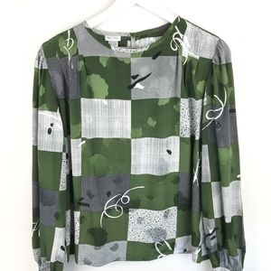 Nicola |  Green/Blk/Wht Abstract Print Blouse
